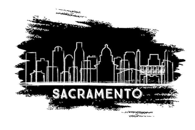 새크라멘토 캘리포니아 도시 스카이 라인 실루엣입니다. 손으로 그린 스케치
