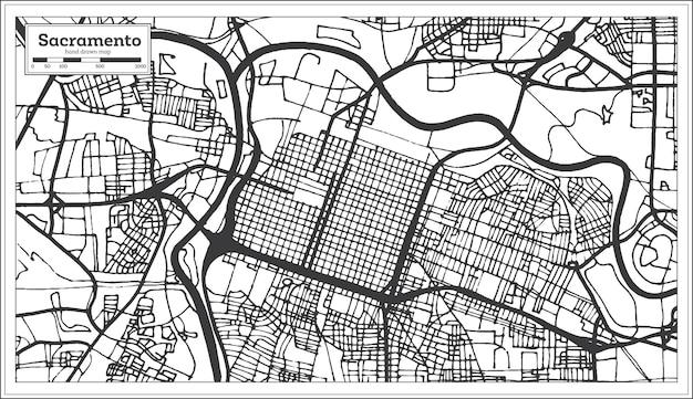 Карта города сакраменто калифорния сша в стиле ретро. контурная карта. векторные иллюстрации.