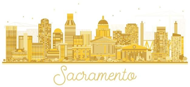새크라멘토 캘리포니아 미국 도시 스카이 라인 황금 실루엣입니다. 벡터 일러스트 레이 션. 관광 프레젠테이션, 배너, 현수막 또는 웹 사이트에 대한 간단한 평면 개념. 랜드마크가 있는 새크라멘토 도시 풍경.