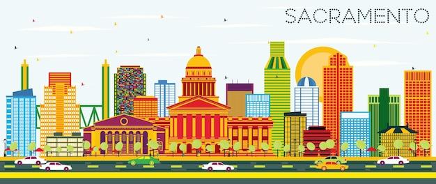 색상 건물과 푸른 하늘이 있는 새크라멘토 미국 스카이라인. 벡터 일러스트 레이 션. 현대 건축과 비즈니스 여행 및 관광 개념입니다. 프레젠테이션 배너 현수막 및 웹사이트용 이미지.