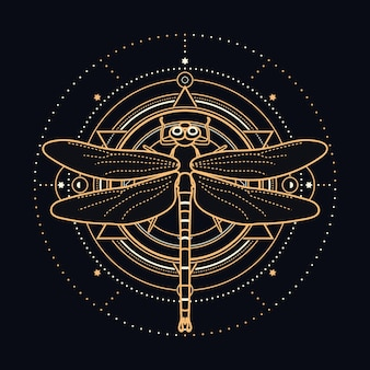 天体のデザイン要素を持つ神聖なトンボ