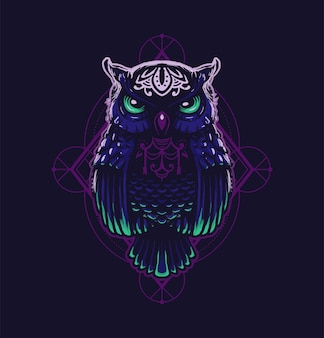 Sacred geometric owl in the dark