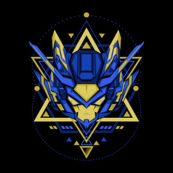 Sacred geometry blue yellow robot