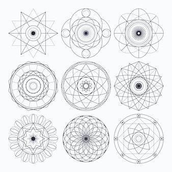 神聖な幾何学デザイン要素。元のアウトライン(拡張されていないストローク)。