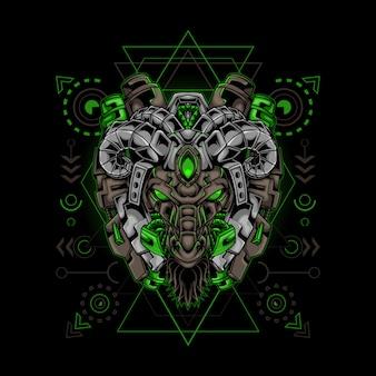 Sacred geometry goat robot  illustration