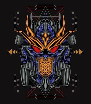 Сакральная геометрия король робот иллюстрация