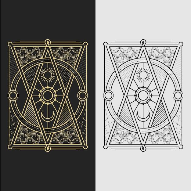 Sacred geometry moon and sun