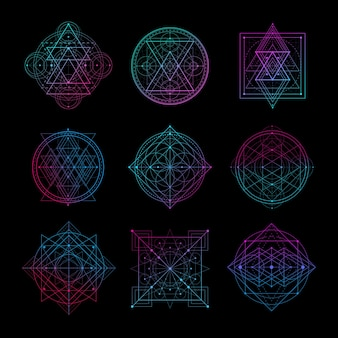 Sacred Geometry Symbol With Gradient Color Vector Illustration