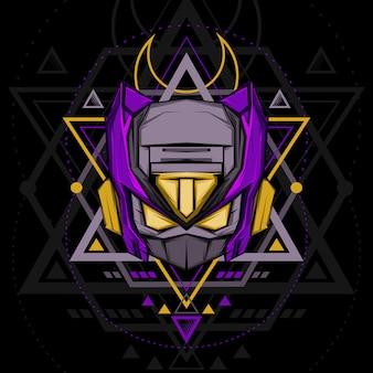 Sacred geometry violet ninja robot