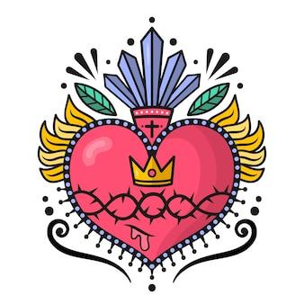 Sacred heart design illustrated