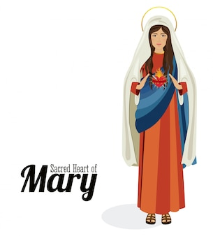 Sacred heart of holy mary, vector illustration
