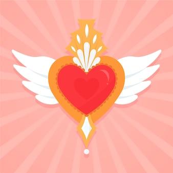 Disegno illustrato del cuore sacro