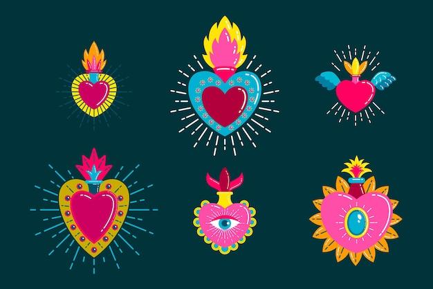 Collezione di illustrazioni del sacro cuore