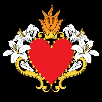 Sacred heart of jesus. beautiful ornamental red heart with lilies, crown isolated