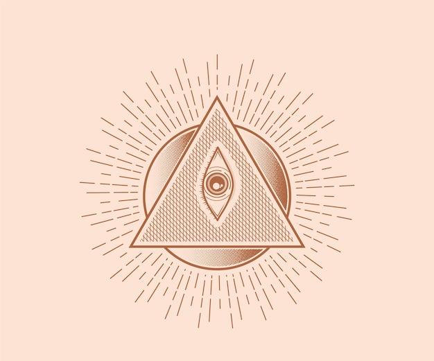 Sacred mystical god all seeing eye illuminati symbol illustration sacred geometry tattoo scar print