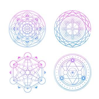 Священные символы на сине-фиолетовой акварели.