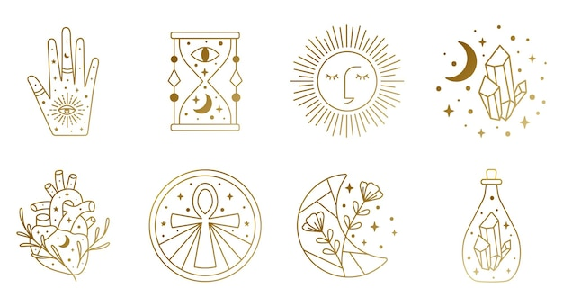 Sacred witch and mystical symbols in vector featuring hour glass sun heart crystal hand moon