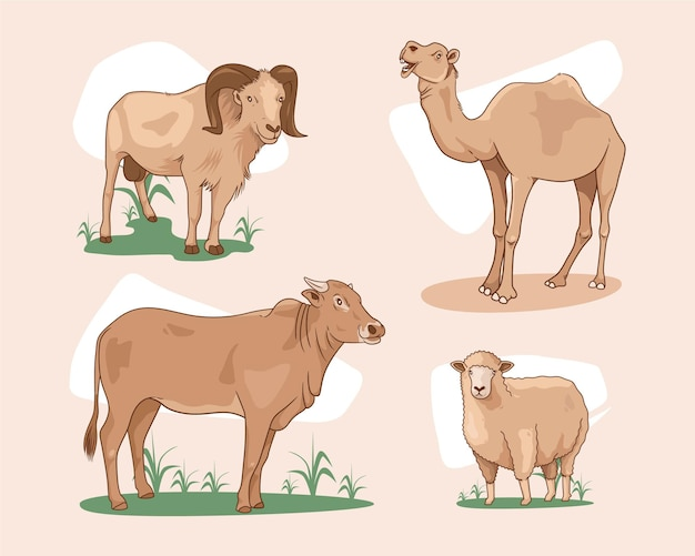 Sacrificial animals vector illustration of goat sheep cow and camel