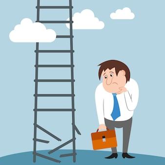 悲しいと混乱しているビジネスマンのキャラクターのキャリアが失われた仕事を壊した