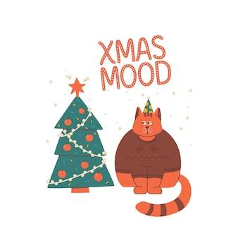 사슴과 스웨터를 입은 슬프고 심술궂은 고양이가 크리스마스 트리를 쳐다봅니다. 레터링 크리스마스 분위기.