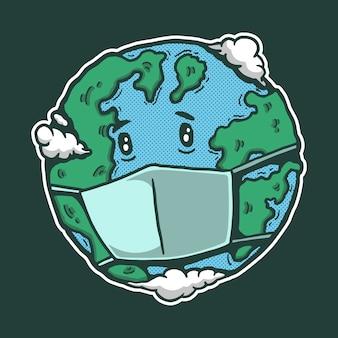 悲しい、病気の地球漫画イラスト