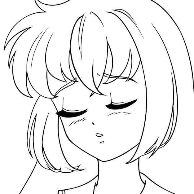 닫힌 된 눈을 가진 슬픈 애니메이션 소녀. 아이콘 초상화. 윤곽선 그림.