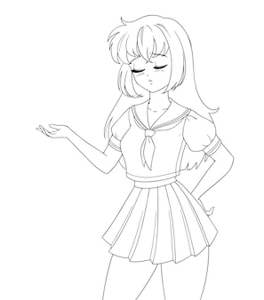 Грустная аниме-манга девушка в школьной форме изолирована