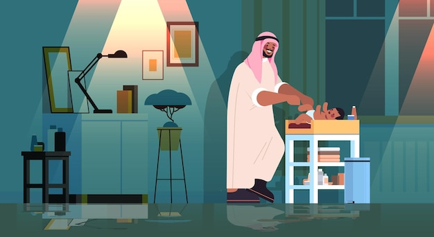 Грустный арабский отец меняет подгузник своему маленькому сыну, концепция отцовства и отцовства темная ночь, домашний интерьер гостиной