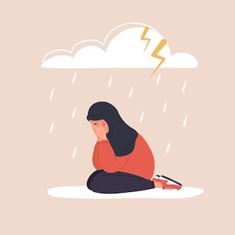 雨雲の下に座っている悲しいアラブの女性。ヒジャーブの泣き声で落ち込んでいるティーンエイジャー。