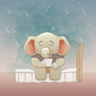 Sad baby elephant on the bed