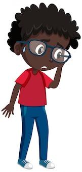 Sad black boy cartoon character