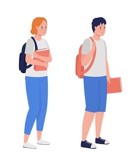 슬픈 소년과 소녀 반 평면 색상 벡터 문자 집합입니다. 서있는 그림. 흰색에 전신 사람들입니다. 그래픽 디자인 및 애니메이션 컬렉션에 대한 십대 문제 격리 현대 만화 스타일 그림 프리미엄 벡터