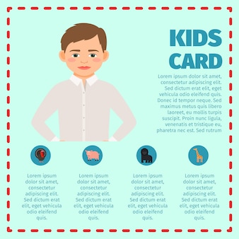 Sad boy kids card infographic