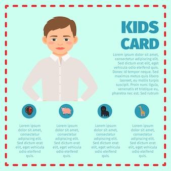 Sad boy kids card infographic