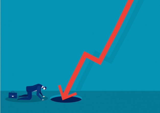Sad businessman  fail with falling down red arrow graph financial crisis