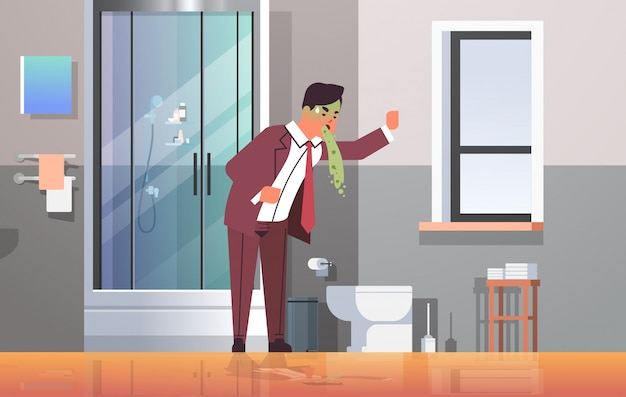 Sad businessman with pale face vomiting nausea stomach ache food or alcohol poisoning digestive problem concept man puking feeling sick modern bathroom interior flat full length horizontal