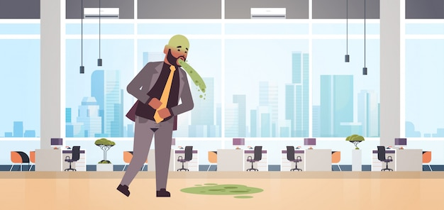 Sad businessman with pale face vomiting nausea stomach ache food or alcohol poisoning digestive problem concept man puking feeling sick modern office interior flat full length horizontal