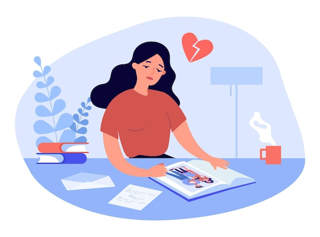 Sad cartoon woman looking at picture in photo album. photo of happy husband and wife with children flat vector illustration. family, divorce concept for banner, website design or landing web page