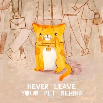 Sad cat being left behind