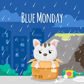 파란색 월요일에 슬픈 고양이