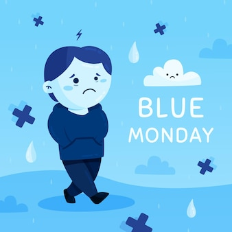 Sad character on blue monday