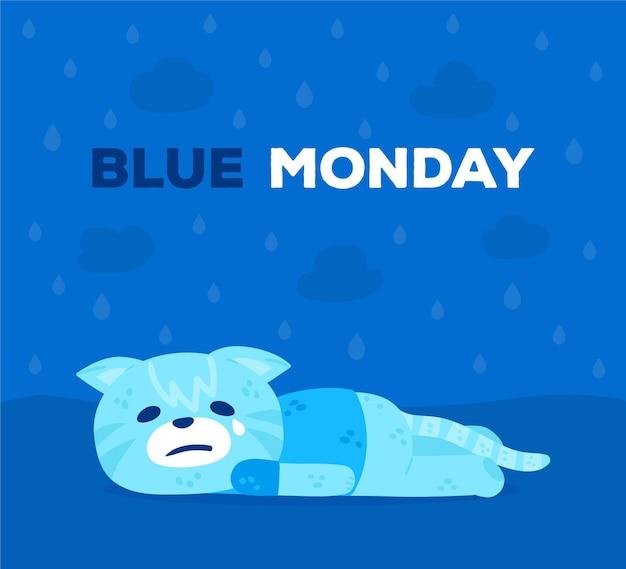 Sad character on blue monday