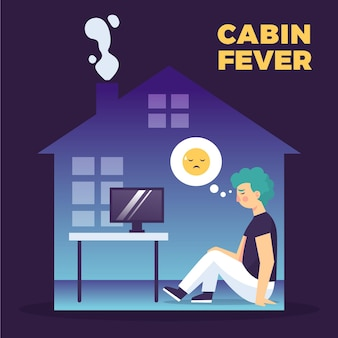 Sad character indoors cabin fever concept