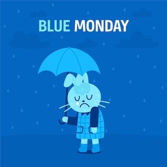 Грустный персонаж в синий понедельник