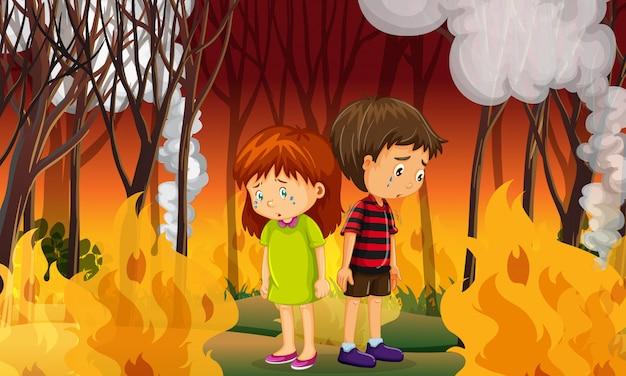 Sad children in wildfire forest