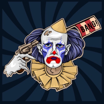 Sad clown from hell circus halloween vector illustration