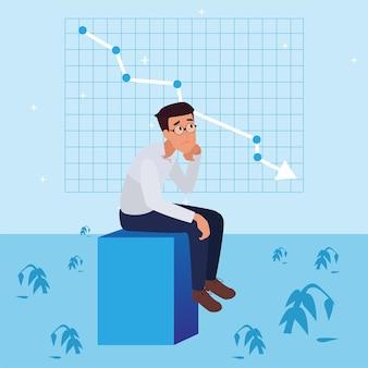 失敗とビジネスの減少、リーダーシップの成功とキャリアの進歩の概念、フラットなイラスト、ビジネスマンを心配している悲しい企業の男性。