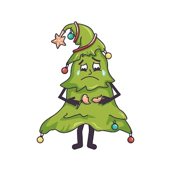 Sad crying christmas tree with tears in her eyes and a broken toy in her hands festive decoration fo...