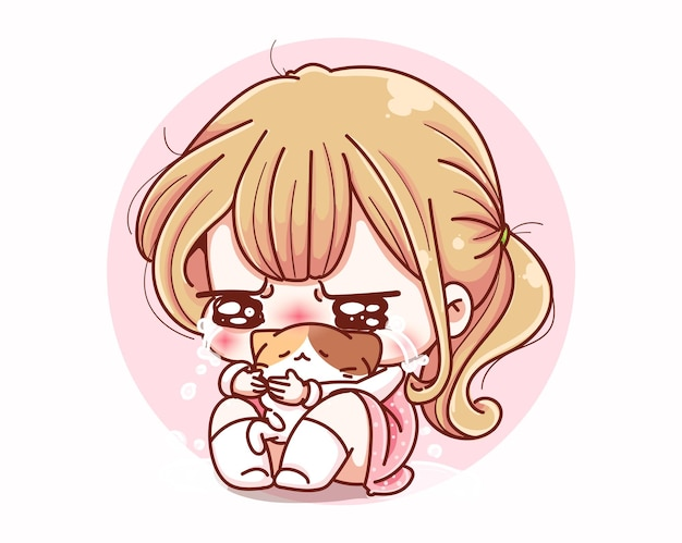 슬픈 우는 귀여운 소녀와 만화 캐릭터 디자인.
