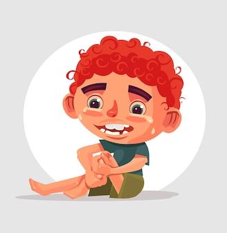 Грустно плачущий мальчик-персонаж упал и повредил колено.